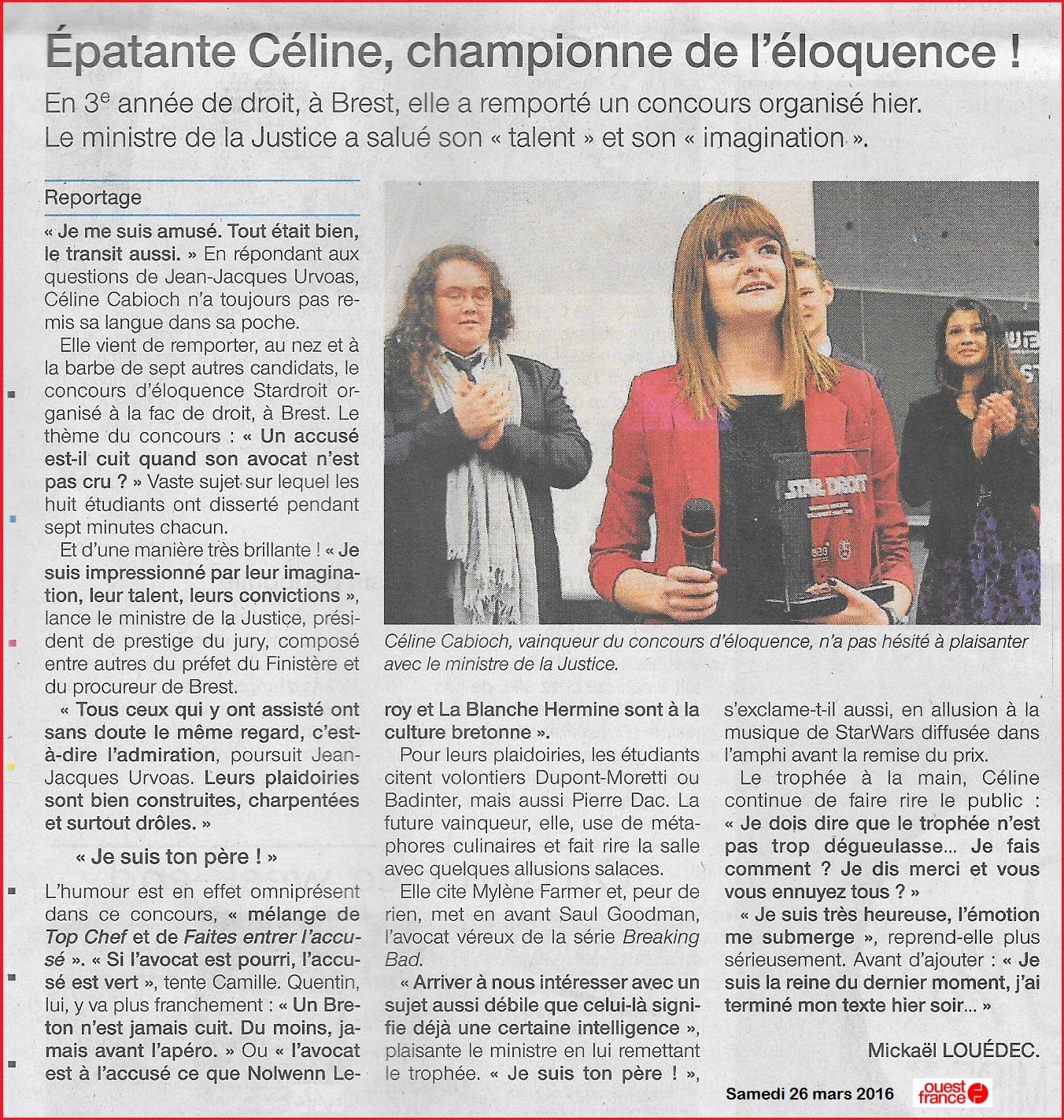 Article Céline Star Droit Ouest France